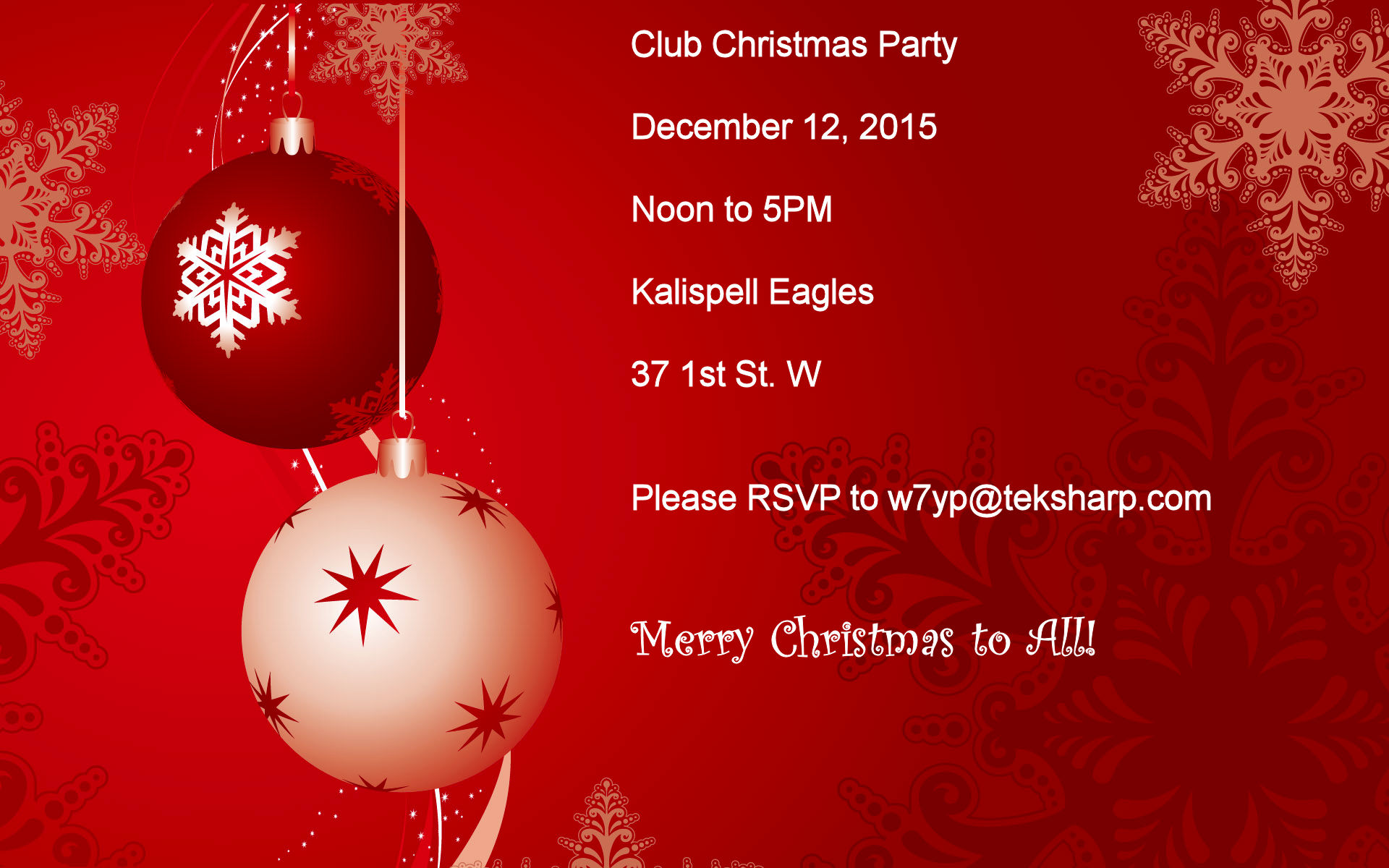 2015 Christmas Party Announcement